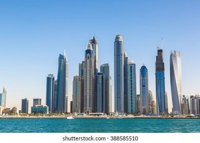 Dubai Marina in a summer day, UAE