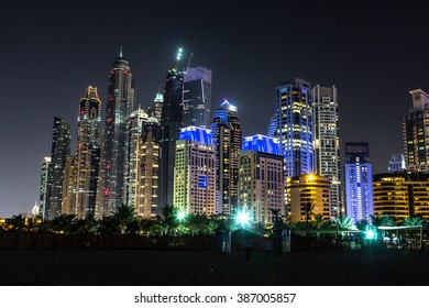 Dubai marina in a summer night, Dubai, UAE.