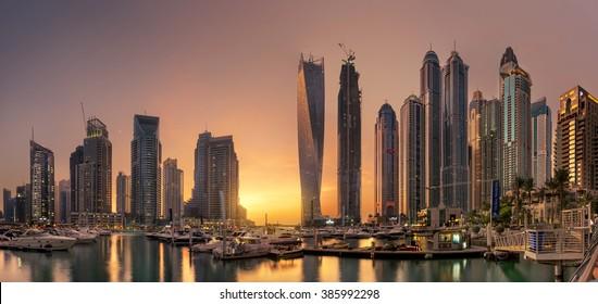 Dubai Marina Towers with glowing sunset