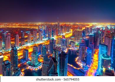 Dubai Marina UAE night High Definition