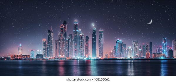 Dubai Marina under moon light