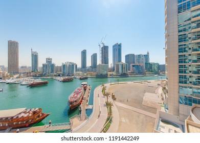 Dubai Marina with yatch