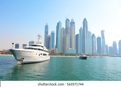 Dubai Marine skyscrapers, dubai sea, yacht, ship, vessel, boat