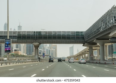DUBAI - May 11, 2014: City traffic on a beautiful day. Dubai traffic can be very high during peak hours.