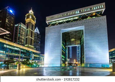 DUBAI -MAY 11:The Gate - main building of Dubai International Financial center, the fastest growing international financial center in Middle East. 11 May 2014 , Dubai, UAE.