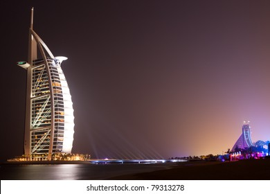DUBAI - MAY 12: Burj al Arab hotel, one of the few 7 stars hotel in the world and one of the most recognized luxury symbol at night on MAY 12, 2011 in Dubai