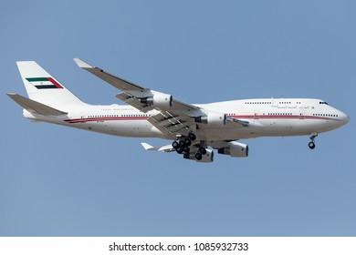DUBAI - MAY 7: A Dubai Air Wing aircraft is landing at DXB airport as seen on May 7, 2018.