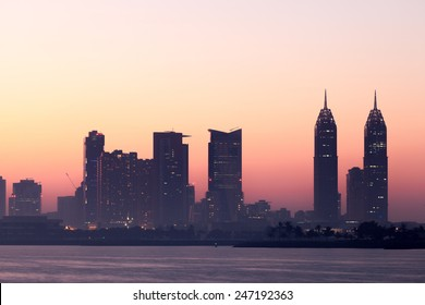 Dubai Media City skyline at dusk. United Arab Emirates