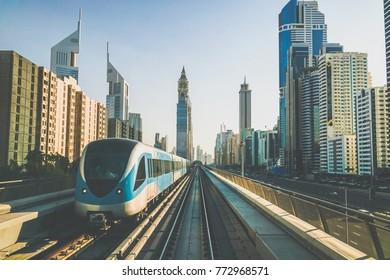 Dubai. The Dubai metro in the early morning. Toning instagram.