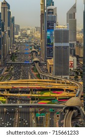 Dubai Metro on Sheikh Zayed Road. United Arab Emirates, Dubai 2017