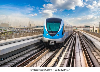 Dubai metro railway in a summer day in Dubai, United Arab Emirates