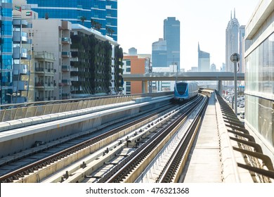 Dubai metro railway in a summer day, United Arab Emirates