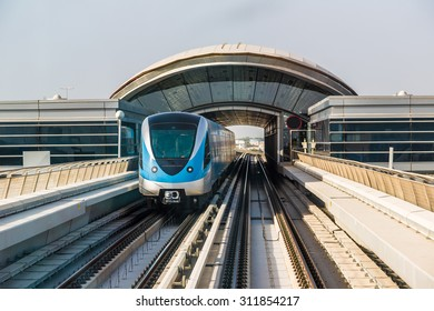Dubai Metro in a summer day in Dubai