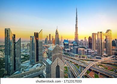 Dubai - modern and luxury city skyline at sunrise, United Arab Emirates