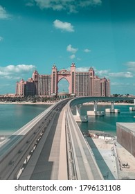 Dubai Monorail on Palm Jumeirah in Dubai (UAE). The monorail connects the island to the mainland.