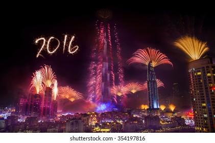 Dubai New year fireworks 2016