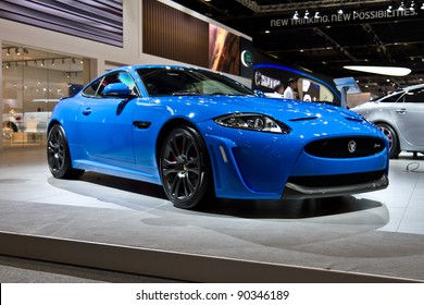 DUBAI - NOVEMBER 10: The Jaguar XKR-S on show at the Dubai Motor Show at the Dubai International Convention and Exhibition Centre, November 10, 2011 in Dubai, UAE