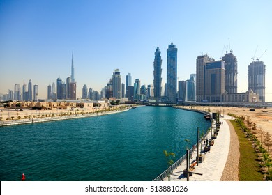 DUBAI - NOVEMBER 11: The Dubai Canal is now open and full of water. The Dubai Water Canal Project is an extension of Deira Creek, linking Business Bay to the Arabian Gulf as seen on November 11, 2016.