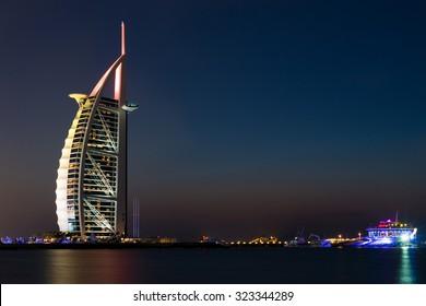 DUBAI - NOVEMBER 16: Burj Al Arab the luxury seven star Dubai hotel at sunset on November 16, 2014 in Dubai