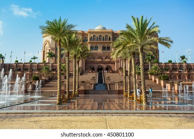 DUBAI - NOVEMBER 5: Emirates Palace in Abu Dhabi on November 5, 2013 in Dubai. Emirates Palace was originally conceived as a venue for government summits and conferences in the Persian Gulf