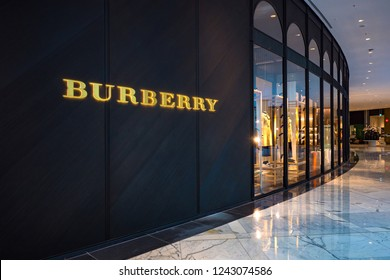 DUBAI - OCTOBER, 2018: Burberry fashion store inside Dubai Mall. Burberry Group is a British luxury fashion house, distributing outerwear and fashion accessories.