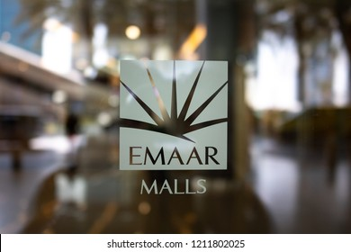 DUBAI - OCTOBER, 2018: EMAAR symbol at the entrance of The Mall. Emaar Properties is a real estate development company located in the United Arab Emirates.