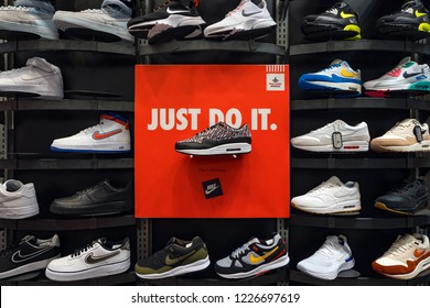 DUBAI - OCTOBER, 2018: Exposition of nike sport shoes. Nike is one of the world's largest suppliers of athletic shoes and apparel. The company was founded on January 25, 1964.