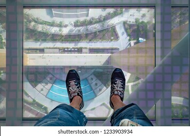 DUBAI - OCTOBER, 2018: Dubai Frame interior view with transparent pavement. The Dubai Frame is an architectural landmark in Zabeel Park.