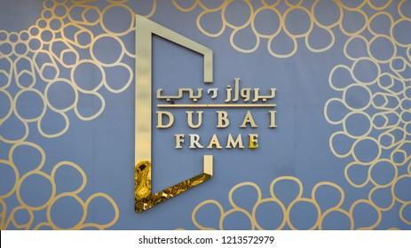 DUBAI - OCTOBER, 2018: Dubai Frame sign. The Dubai Frame is an architectural landmark in Zabeel Park.
