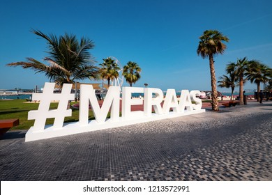 DUBAI - OCTOBER, 2018: Hashtag Meraas on The Walk (Jumeirah Beach Residence). The Walk is a 1.7 kilometer strip at ground level of the Jumeirah Beach Residence complex opened officially in 2008.
