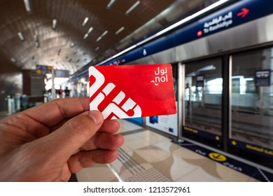 DUBAI - OCTOBER, 2018: Metro ticket NOL red card. The Dubai Metro is the world's longest fully automated metro network. Illustrative editorial.