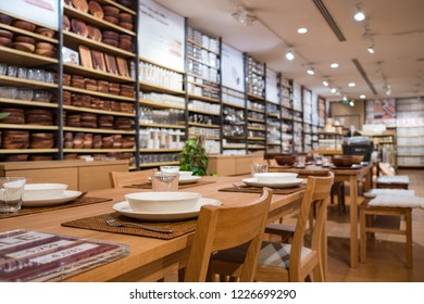 DUBAI - OCTOBER, 2018: Muji Store inside Dubai Mall. MUJI is popular Japanese brand which sell home and decor items as well as clothing and accesories.