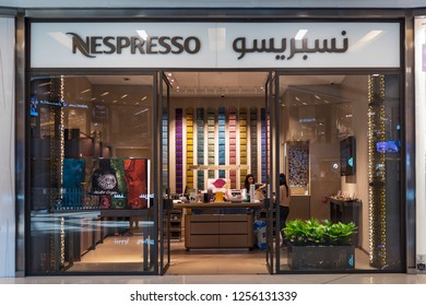 DUBAI - OCTOBER, 2018: Nespresso store. Nespresso is the brand name of Nestlé Nespresso S.A., an operating unit of the Nestlé Group, based in Lausanne, Switzerland.