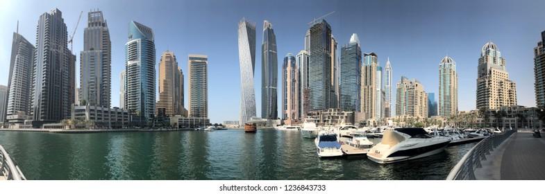DUBAI - OCTOBER, 2018: Skyline panoramic view of Dubai Marina. Dubai Marina is an artificial 3 km canal carved along the Persian Gulf shoreline.