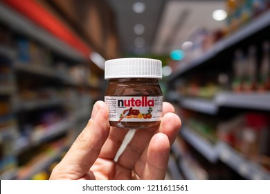 DUBAI - OCTOBER, 2018: Small Nutella jar inside super market. Nutella is manufactured by the Italian company Ferrero and was first introduced in 1965.