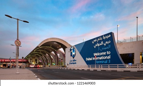 DUBAI - OCTOBER, 2018: Terminal 3 exterior view at sunshine. Dubai International Airport is an international airport serving Dubai. It is a major airline hub in the Middle East.