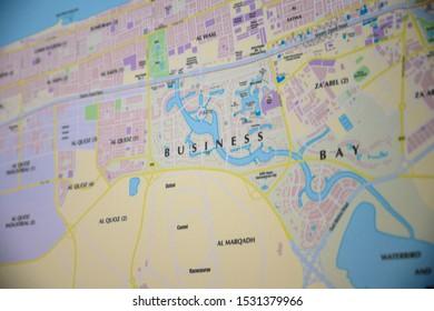 DUBAI - OCTOBER, 2019: Map of Dubai. Business bay area.