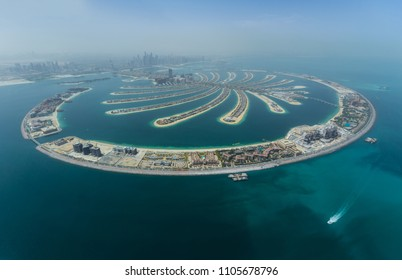 Dubai Palm artificial Island. View from hydroplane.