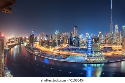 Dubai Panoramic View From Top at night