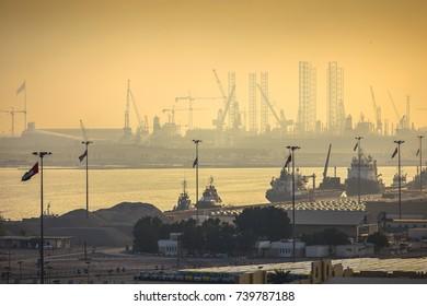 Dubai port view at sunset, UAE