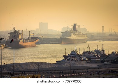 Dubai port view at sunset, United Arab Emirates