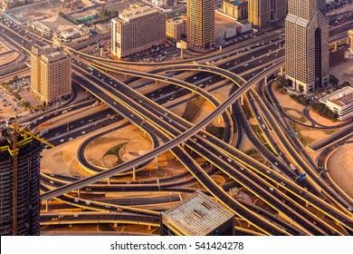 Dubai roads from above in sunset