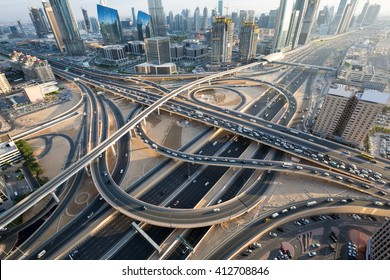 Dubai roads, junction, intersection. Dubai car traffic, busy roads, Interchange 1. Sheikh Zayed road. Dubai Downtown. United Arab Emirates. Dubai highways.