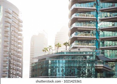 Dubai rooftop patio with palm trees on a hazy day