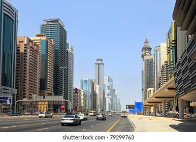 DUBAI - SEP 01: Dubai skyscrapers on Sheikh Zayed Road on September 01, 2010 in Dubai. The highway runs parallel to the coastline to the border with Abu Dhabi. It is home to most of Dubai skyscrapers