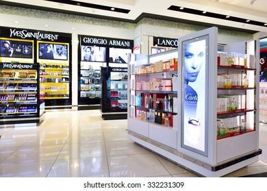 DUBAI - SEPTEMBER 08, 2015: interior of Dubai Duty Free. Dubai Duty Free is the largest single airport retail operation in the world