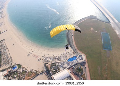 Dubai. Skydive Dubai palm. Beach and city. Skydiver, parashutist under canopy.