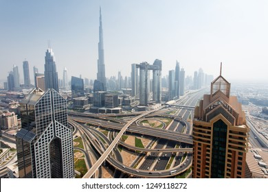 Dubai skyline, aerial top view to downtown city center landmarks. Famous viewpoint, United Arab Emirates
