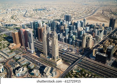 Dubai skyline from the air. Dubai futuristic skyscrapers. Dubai Tecom, Internet city, Barsha Heights district. Office buildings. Business district.