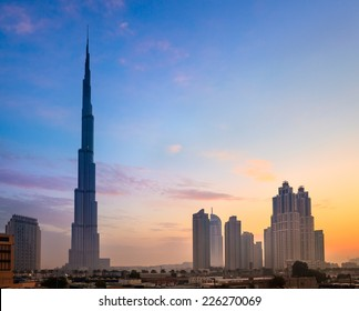 Dubai skyline with Burj Khaleefa the tallest building over the horizon.